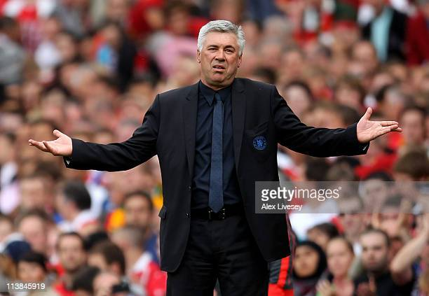 Chelsea Manager Carlo Ancelotti reacts during the Barclays Premier League match between Manchester United and Chelsea at Old Trafford on May 8 2011...
