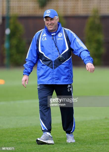 Chelsea manager Carlo Ancelotti smiles during a training session at the Cobham Training ground on April 30, 2010 in Cobham, England.