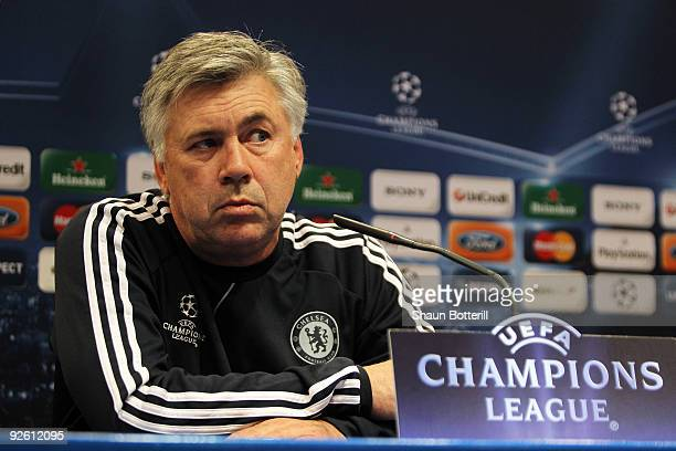 Chelsea Manager Carlo Ancelotti speaks at the Press Conference prior to the Champions League Group D match between Atletico Madrid and Chelsea at the...