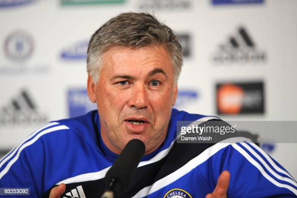 Chelsea manager Carlo Ancelotti speaks during a press conference at Cobham training ground on November 20, 2009 in Cobham, England.