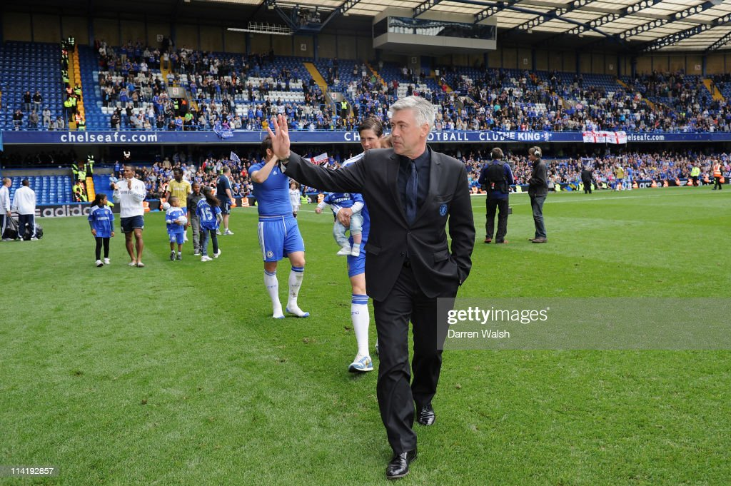 Chelsea manager, Carlo Ancelotti waves to the supporters after the Barclays Premier League match between Chelsea and Newcastle United at Stamford Bridge on May 15, 2011 in London, England.
