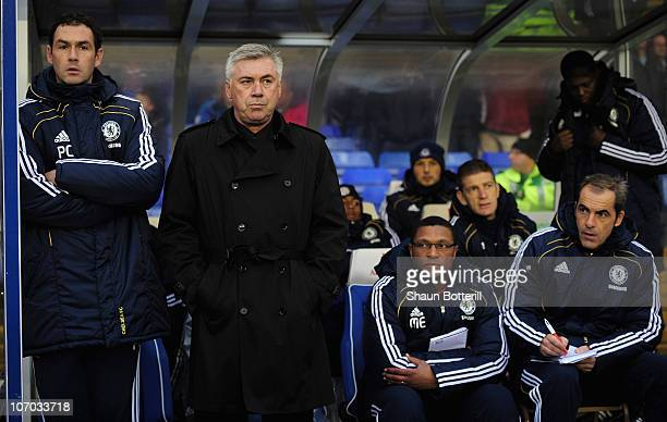 Chelsea manager Carlo Ancelotti with assistant coaches Paul Clement and Michael Emenalo ahead of the Barclays Premier League match between Birmingham...