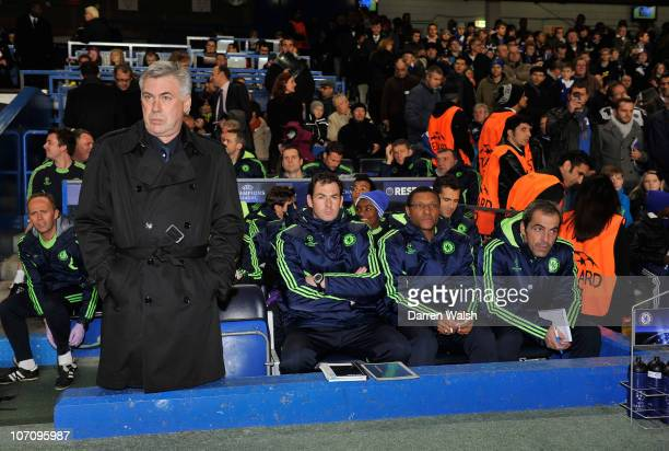 Chelsea manager Carlo Ancelotti with assistant coaches Paul Clement and Michael Emenalo ahead of the UEFA Champions League group F match between...