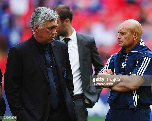 Chelsea manager Carlo Ancelotti with assistant manager Ray Wilkins after the FA Community Shield match between Chelsea and Manchester United at...