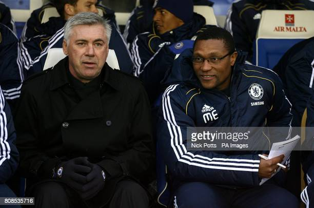 Chelsea manager Carlo Ancelotti with his new assistant manager Michael Emenalo on the bench