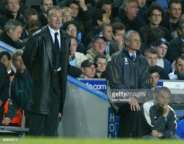 Chelsea manager Claudio Ranieri and AS Monaco manager Didier Deschamps look on during the UEFA Champions League Semi Final 2nd Leg match between...