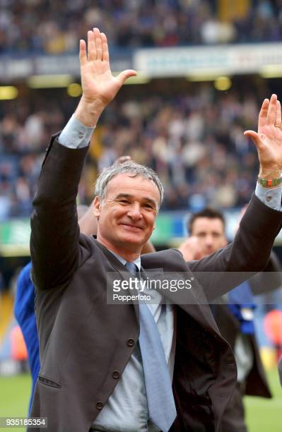 Chelsea manager Claudio Ranieri celebrates their 21 win after the FA Barclaycard Premiership match between Chelsea and Liverpool at Stamford Bridge...