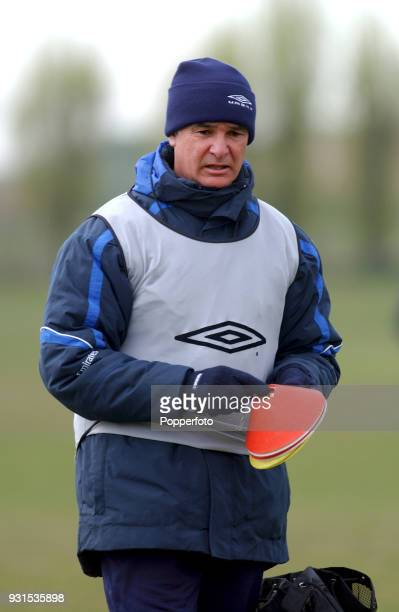 Chelsea manager Claudio Ranieri during a training session at Chelsea's training ground near Heathrow in London on April 12 2002