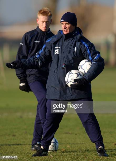 Chelsea manager Claudio Ranieri during a training session at their Harlington Training Ground in London on December 14 2001