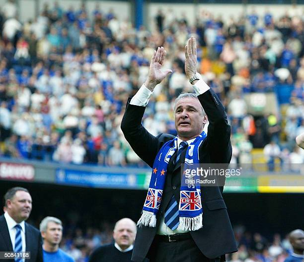 Chelsea Manager Claudio Ranieri salutes the fans after the FA Barclaycard Premiership match between Chelsea and Leeds United at Stamford Bridge on...