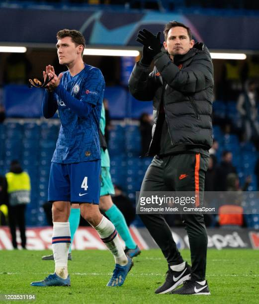 Chelsea manager Frank Lampard and Andreas Christensen applauds the fans at the final whistle during the UEFA Champions League round of 16 first leg...