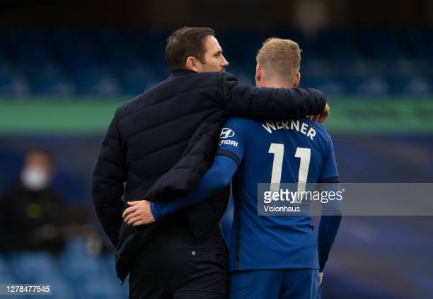 Chelsea Manager Frank Lampard and Timo Werner after the Premier League match between Chelsea and Crystal Palace at Stamford Bridge on October 03 2020...