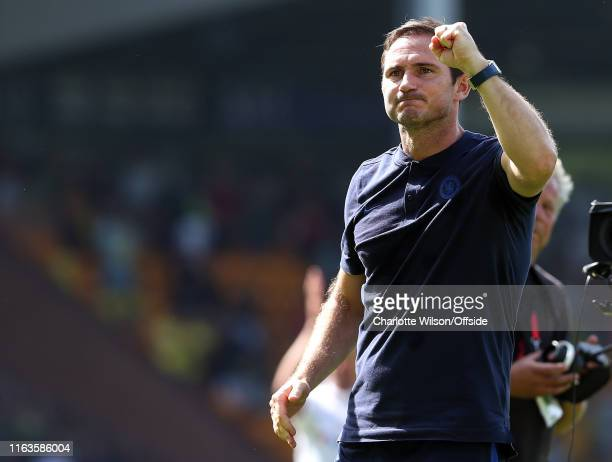 Chelsea manager Frank Lampard celebrates their first win of the season during the Premier League match between Norwich City and Chelsea FC at Carrow...