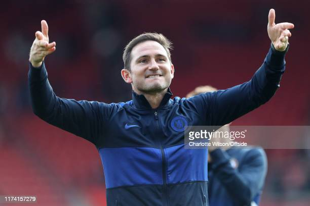 Chelsea manager Frank Lampard celebrates their victory during the Premier League match between Southampton FC and Chelsea FC at St Mary's Stadium on...