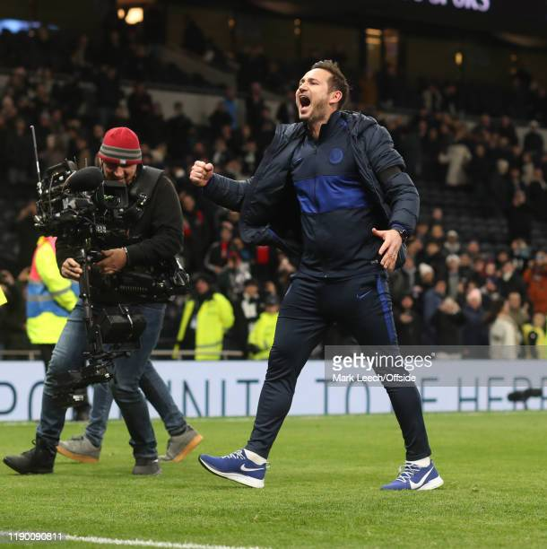 Chelsea manager Frank Lampard celebrates victory after the Premier League match between Tottenham Hotspur and Chelsea FC at Tottenham Hotspur Stadium...