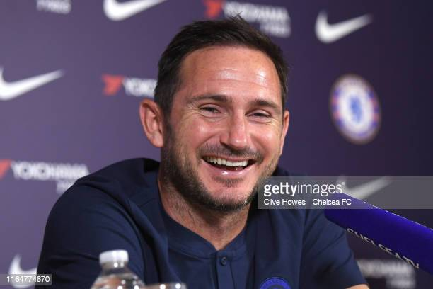 Chelsea Manager Frank Lampard during the Friday press conference at Chelsea Training Ground on August 30 2019 in Cobham England