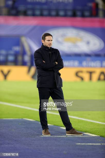 Chelsea Manager Frank Lampard during the Premier League match between Leicester City and Chelsea at The King Power Stadium on January 19, 2021 in...