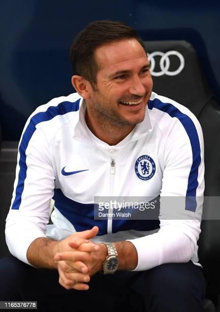 Chelsea Manager Frank Lampard laughs during the preseason friendly match between RB Salzburg and FC Chelsea at Red Bull Arena on July 31 2019 in...
