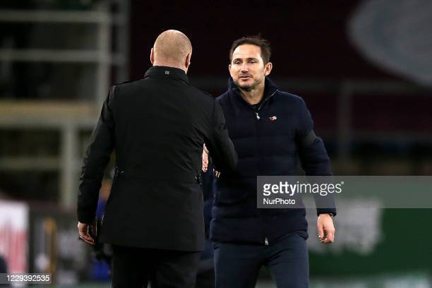 Chelsea manager Frank Lampard shakes the hand of Burnley manager Sean Dyche after the game during the Premier League match between Burnley and...