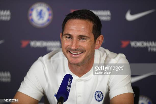 Chelsea manager Frank Lampard speaks to media during a press conference at Chelsea Training Ground on August 9 2019 in Cobham England