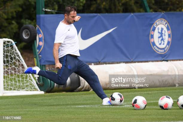 Chelsea Manager Frank Lampard takes a corner kick at the morning training session at Chelsea Training Ground on August 30 2019 in Cobham England