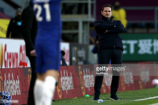 Chelsea manager Frank Lampard watches the match on the touchline during the Premier League match between Burnley and Chelsea at Turf Moor Burnley on...