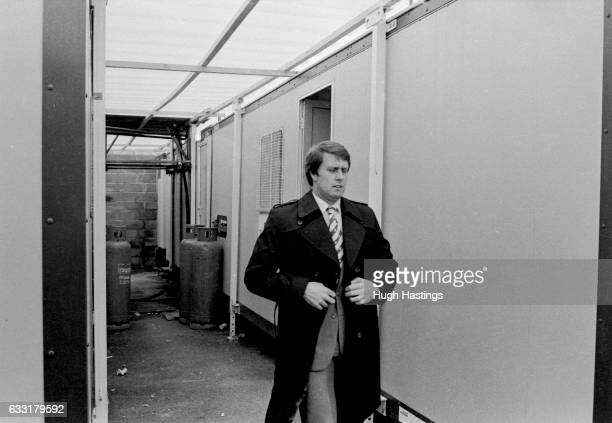 Chelsea Manager Geoff Hurst exits the temporary changing rooms at Eastville before the Football League Division Two match between Bristol Rovers and...
