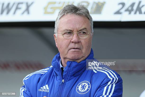 Chelsea manager Guus Hiddink during the Barclays Premier League match between Swansea City and Chelsea at the Liberty Stadium on April 9 2016 in...