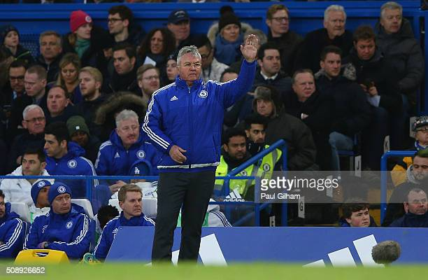 Chelsea manager Guus Hiddink looks on during the Barclays Premier League match between Chelsea and Manchester United at Stamford Bridge on February 7...