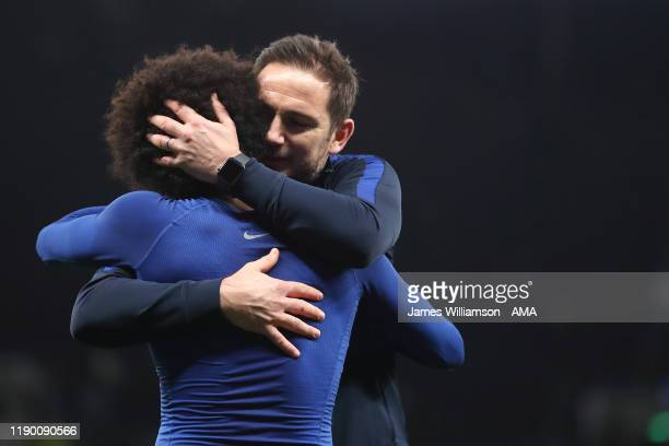 Chelsea manager / head coach Frank Lampard celebrates at full time with Willian during the Premier League match between Tottenham Hotspur and Chelsea...