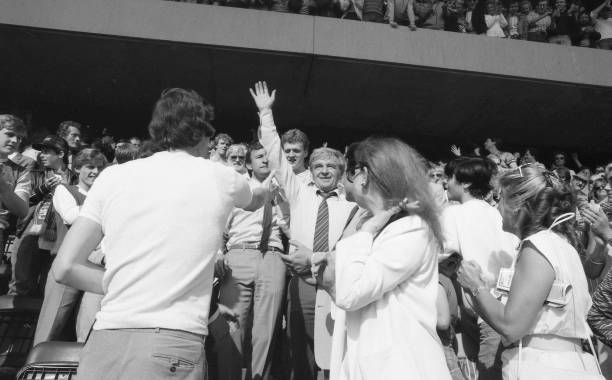 Chelsea manager John Neal celebrates with the fans post-match having achieved promotion after the Canon League Division Two match between Chelsea and...