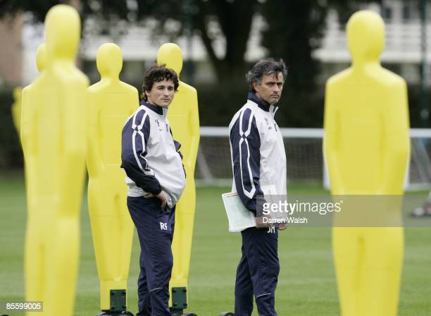 Chelsea manager Jose Mourinho and Fitness coach Rui Faria during training