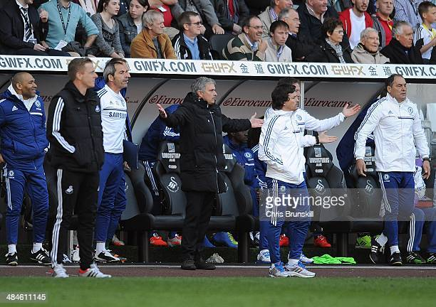 Chelsea manager Jose Mourinho appeals for the final whistle during the Barclays Premier League match between Swansea City and Chelsea at the Liberty...