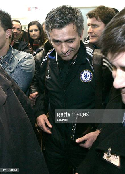 Chelsea manager Jose Mourinho arriving at Francisco Sa Carneiro Airport in Porto Portugal on February 20 2007