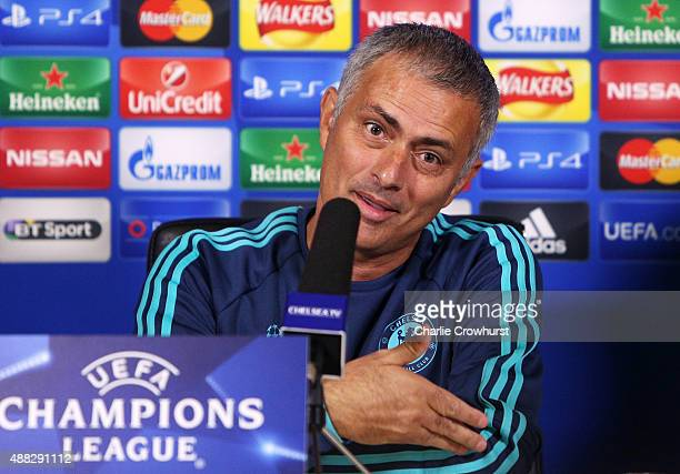 Chelsea manager Jose Mourinho chats to the media during a Chelsea Press Conference ahead of their Champions League fixture against Maccabi Tel Aviv...