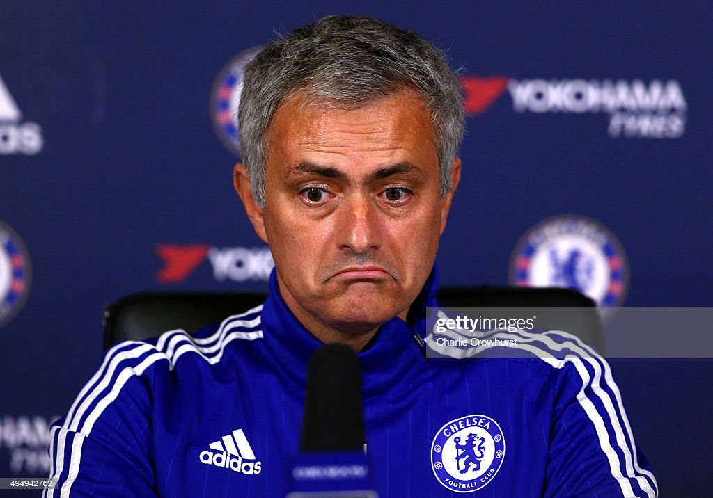 Chelsea manager Jose Mourinho chats to the media during a press conference at the Cobham training ground on October 30, 2015 in Cobham, England.