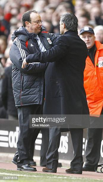 Chelsea Manager Jose Mourinho congratulates Liverpool Manager Rafael Benitez at the end of the Barclays Premiership match between Liverpool and...