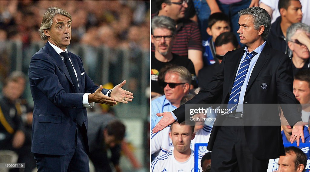 IMAGES - Image Numbers 182933606 (L) and 176743320) In this composite image a comparison has been made between Galatasaray AS coach Roberto Mancini (L) and Chelsea manager Jose Mourinho. Galatasaray and Chelsea meet in the UEFA Champions League Round of 16 with the first leg on February 26, 2014 and the 2nd leg on March 18, 2014. LONDON, ENGLAND - AUGUST 18: Chelsea manager Jose Mourinho gestures during the Barclays Premier League match between Chelsea and Hull City at Stamford Bridge on August 18, 2013 in London, England.
