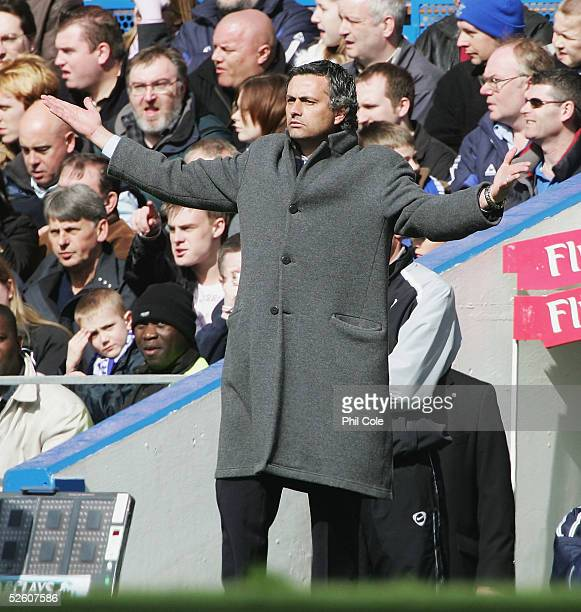 Chelsea manager Jose Mourinho gestures from the technical area during the Barclays Premiership match between Chelsea and Birmingham City at Stamford...