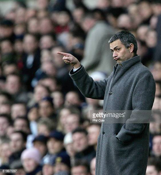 Chelsea Manager Jose Mourinho gives instructions from the sidelines during the Barclays Premiership match between Tottenham Hotspur and Chelsea at...