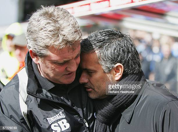 Chelsea manager Jose Mourinho is consoled by Birmingham City manager Steve Bruce during the Barclays Premiership match between Birmingham City and...