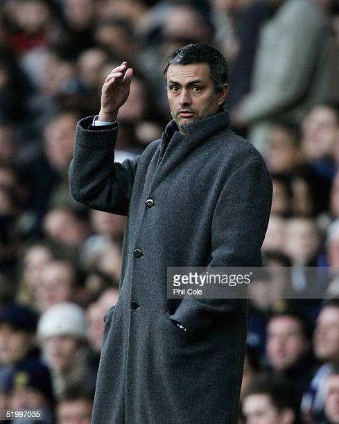 Chelsea Manager Jose Mourinho is surprised by a referee's decision during the Barclays Premiership match between Tottenham Hotspur and Chelsea at...