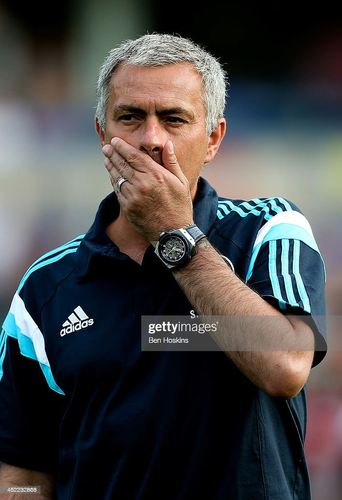 Chelsea manager Jose Mourinho looks on ahead of the pre season friendly match between Wycombe Wanderers and Chelsea at Adams Park on July 16, 2014 in High Wycombe, England.