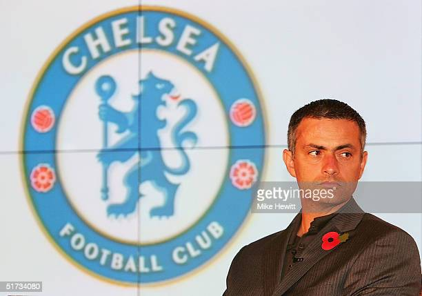 Chelsea manager Jose Mourinho looks on at the unveiling of the new Chelsea badge during a Chelsea Football Club press conference on November 12 2004...