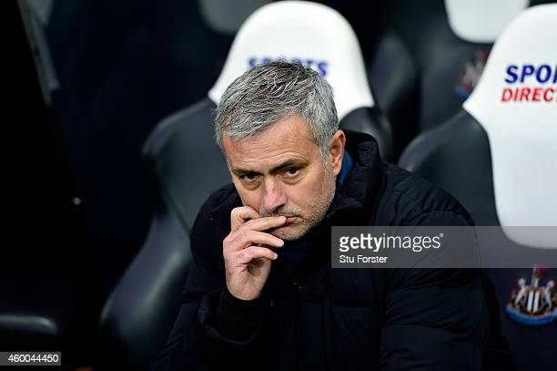 Chelsea manager Jose Mourinho looks on before the Barclays Premier League match between Newcastle United and Chelsea at St James' Park on December 6...