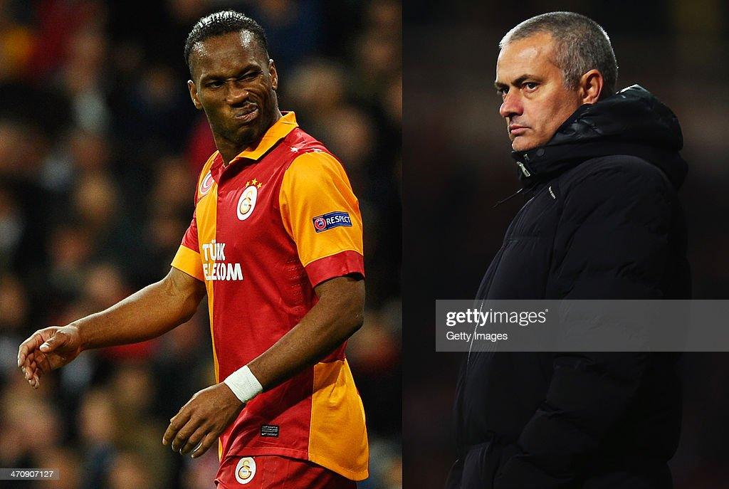 IMAGES - Image Numbers 165369819 (L) and 451677087) In this composite image a comparison has been made between Didier Drogba of Galatasaray and former Chelsea player (L) and Chelsea Manager Jose Mourinho. Galatasaray and Chelsea meet in the UEFA Champions League Round of 16 with the first leg on February 26, 2014 and the 2nd leg on March 18, 2014. LONDON, ENGLAND - NOVEMBER 23: Chelsea Manager Jose Mourinho looks on during the Barclays Premier League match between West Ham United and Chelsea at Boleyn Ground on November 23, 2013 in London, England.