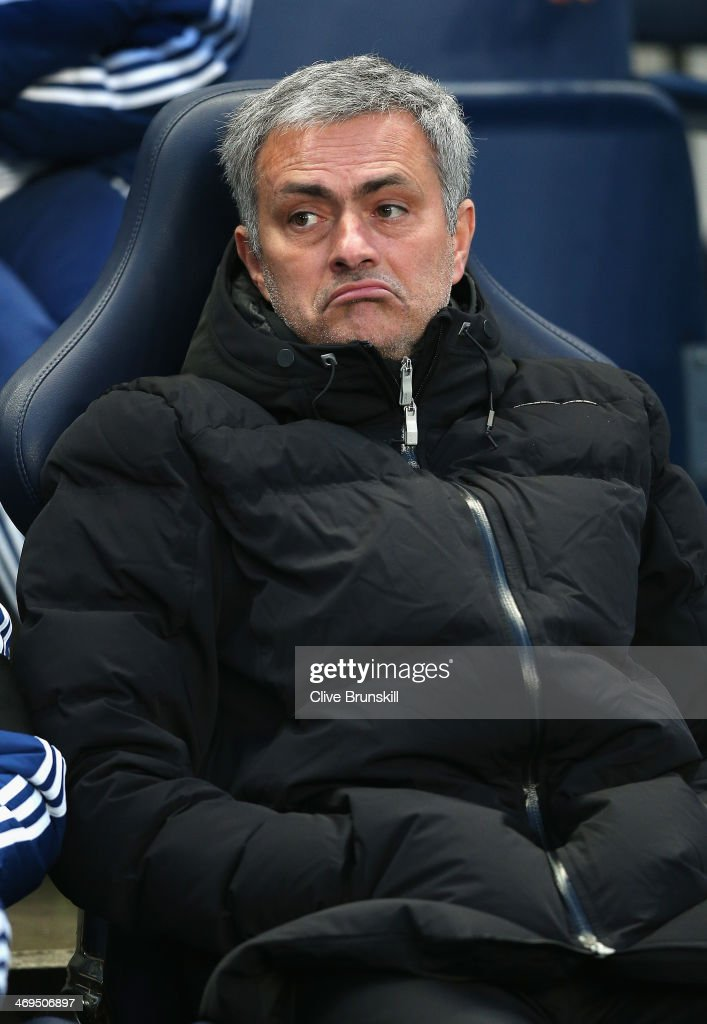 Chelsea manager Jose Mourinho looks on during the FA Cup Fifth Round match sponsored by Budweiser between Manchester City and Chelsea at Etihad Stadium on February 15, 2014 in Manchester, England.