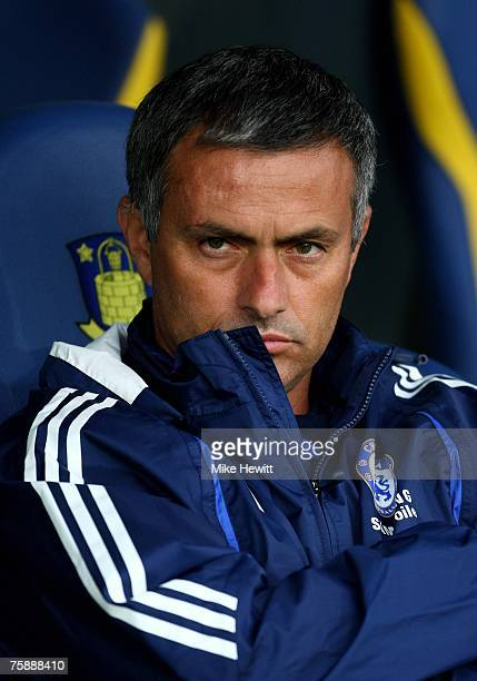 Chelsea manager Jose Mourinho looks on during the preseason friendly between Brondby and Chelsea at the Brondby Stadium on July 31 2007 in Copenhagen...