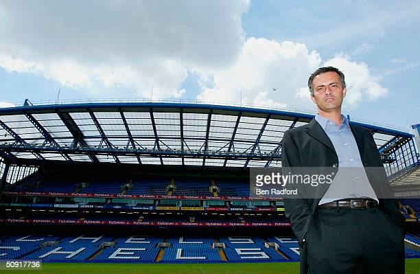 Chelsea Manager Jose Mourinho poses for photographs after the Chelsea press conference at Stamford Bridge on June 2 2004 in London