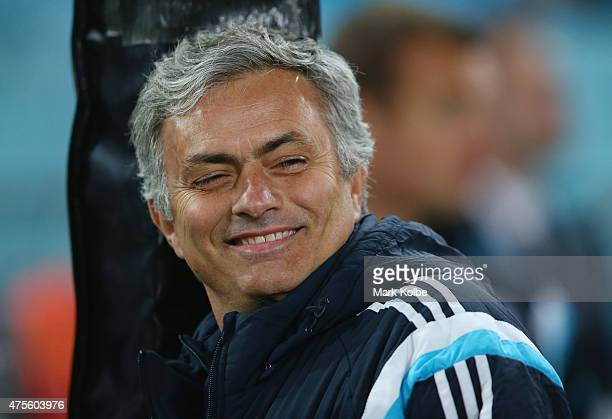 Chelsea manager Jose Mourinho smiles as he watches on before kick off during the international friendly match between Sydney FC and Chelsea FC at ANZ...